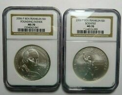 2006 P Ben Franklin Ngc Ms 70 2 Coin Set Founding Father And Scientistcommem 1