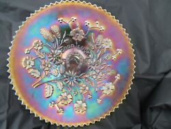 Northwood Electric Green 9 Good Luck Carnival Glass Plate Super