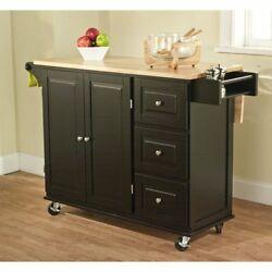Kitchen Island Butcher Block Storage Cabinet Wood Furniture With Locking Wheels
