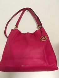 Large Vibrant Pink Michael Kors Leather Purse with Fob $49.00