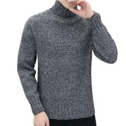 Winter Menand039s Short Slim Fit Pullover Knitwear Sweater High Collar Soft Comfy D