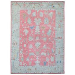 10and039x13and0395 Coral Color Hand Knotted Glimmery Wool Angora Oushak Rug G67439