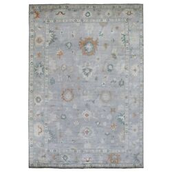 9and03910x14and0391 Hand Knotted Pure Velvety Wool Light Gray Angora Oushak Rug G67483