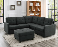 Sectional Sofa Set Modern Linen Fabric with Reversible Chaise L Shaped Couch