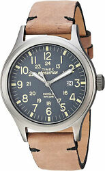 Timex Menand039s Expedition Scout 40 Stainless Steel/brown Leather Watch Tw4b01700