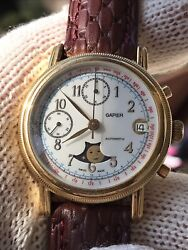 Chronograph Moonphase Automatic Watch Gapier Valjoux 7758 Mens Swiss Made