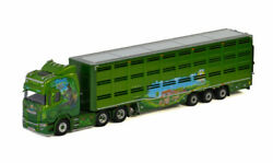 For Scania R Highline Cr20h 6x2 Tag Axle Live Stock Trailer 1/50 Diecast Model