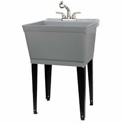 Tehila Utility Sink With Stainless Steel Finish Pull-out Faucet 19 Gallon - Grey