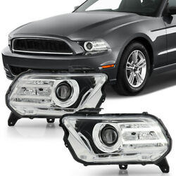 For 10-12 Ford Mustang [halogen Model] Chrome Projector Headlight Front Lamp Set