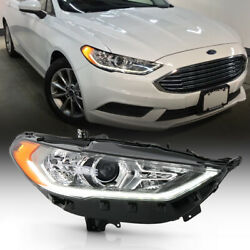 For 17-20 Ford Fusion Halogen Model W/ Led Drl Right Side Projector Headlight