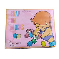 Vintage Plastic Toy Snap On Blocks Alphabet Numbers Hong Kong 1950s Old Stock