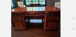 4 Pc Executive Office Set- Desk Chair File Cabinet Club Accent Chair Euc Wood