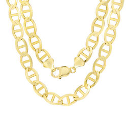 10k Jaune Or Massif Hommes 10.5mm Marin Ancre Chain Collier 55.9cm- 76.2cm