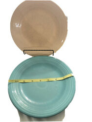 Two Homer Laughlin China Co. Fiestaware Peach 8 1/4 Inch Dinner Plate Blue.