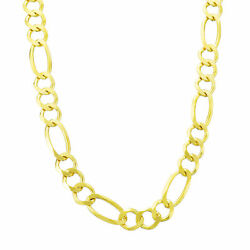14k Solid Yellow Gold 7mm Menand039s Figaro Link Chain Necklace W Lobster Clasp 30