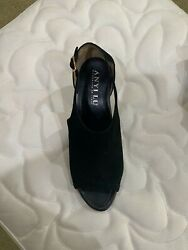 Women Shoes--anyi Lu--italian Hand Made--sz 9.5-black Suede/ankle Strap-- 90.00
