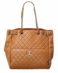 Brown Quilted Lambskin Leather Large Drawstring Bag Women's