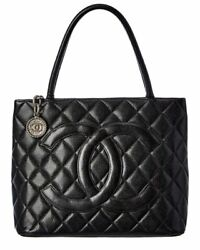 Chanel Brown Quilted Caviar Leather Medallion Tote Women#x27;s $1599.00