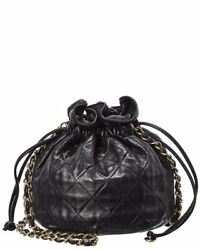 Black Quilted Lambskin Leather Bucket Bag Women's