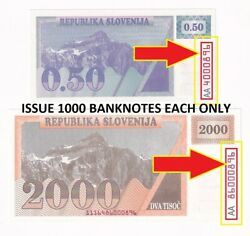 Slovenia 2 Notes 0.50 Tolar And 2000 Tolarjev 1991-92 P1a9a Same Number Unc 23629