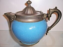 Antique Graniteware Enamel Coffee Tea Pot Blue Manning And Bowman Covered Spout