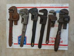 Assorted Antique Plumber Pipe Wrenches - Lot Of 6 Old Monkey