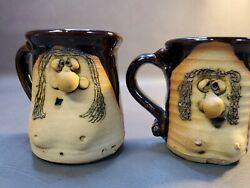 Vintage 1974 Peter Petrie Hand Made Clay Pottery Ugly Mug Lady With Boobs Funny