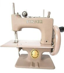 Singer Sew Handy Model 20 Beige Sewing Machine Child W/ Book Box And Clamp E2