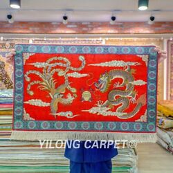 Yilong 2'x3' Red Dragon Handwoven Silk Area Rug High Density Tapestry 067h