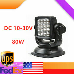 Spot Beam 80w Led Search Light Rotatable Remote-controlled Led Lamp Dc 10-30v