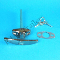 Chrome T Handle Door Lock With 2 X Keys For Caravan And Trailer Catering Horse Box