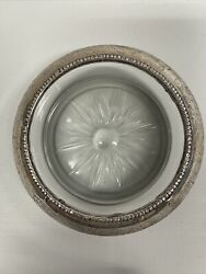 Frank M Whiting Co Silver Collectib Antique Coaster With Etched Glass 3.78andrdquo