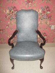 Classic Leather Soft Blue Wing Back Chair Cherry Georgian Court Queen Anne Legs