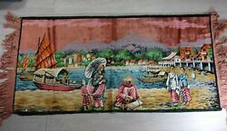Vintage Tapestry Asian Oriental Scenery 39quot; x 19quot; Wall Antique Art