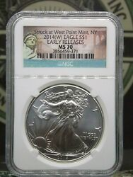 2014 W American Silver Eagle 1 Ngc Ms70 Er Struck At West Point Eccandc, Inc