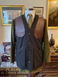 James Purdey Menand039s Brown Wool And Leather Shooting Vest Size 46