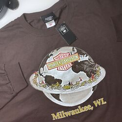 Harley-davidson Museum Men's Brown Xxl Long-sleeved Shirt New With Tags