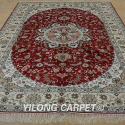 Yilong 6'x9' Handmade Silk Area Rug Traditional Floral Home Red Carpet 1242