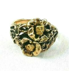 Solid 14k Yellow Gold And 24k Nugget Ring-one Of A Kind-unisex- 100 Charity