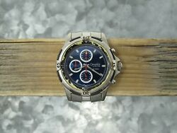 Caravelle By Bulova Vintage Three Sub Dial Chronograph 50 Meters Mens Watch