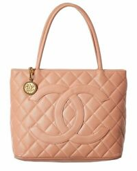 Chanel Pink Quited Caviar Leather Medallion Tote Women#x27;s $1900.00