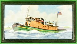 Russell 15 Tugboat Enamel Lid Cigarette Box Hand-painted By Frank Vosmansky