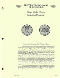 Historic Crown Coins Of The World Guernsey 25 Pence 1977 Unc Silver Jubilee