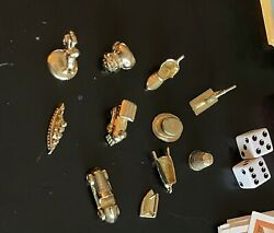 Monopoly Deluxe 1998 Parts 11 Golden Mover Pieces 12 Hotels 34 Houses Dice