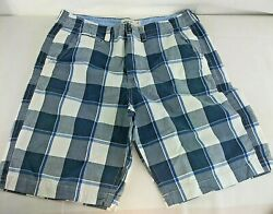 Mens Size 36 American Eagle Outfitters Longer Length Plaid Shorts Gray White