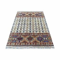 4and0391x6and039 Colorful Super Kazak Khorjin Design Wool Hand Knotted Rug G67615