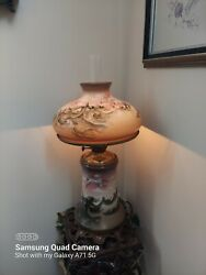 Antique Mt Washington Glass Gone With The Wind Oil Lamp Hand Painted