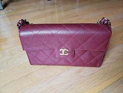 Auth Quilted Cc Chain Hand Bag Burgund Caviar Skin Leather Vintage