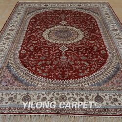 Yilong 6'x9' Oriental Handknotted Silk Rug Home Decor Indoor Red Carpet 1241