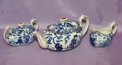 Royal Crown Derby Blue Mikado 3 Piece Set - Teapot Covered Sugar And Creamer